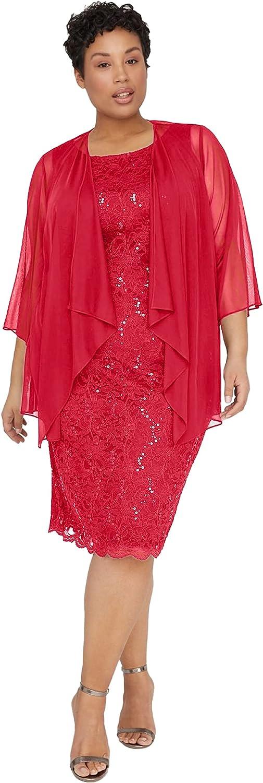 Catherines Women's Plus Size Sparkling Lace Jacket Dress