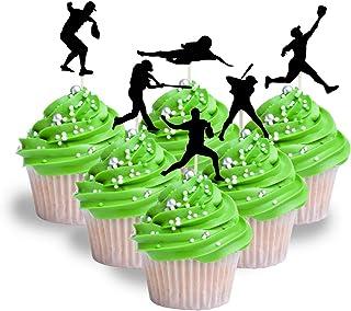 baseball player Silhouette Cupcake Topper Cardstock 12 per Pack Cupcake Sport