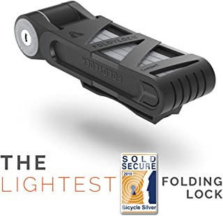 """FOLDYLOCK Compact Bike Lock   Extreme Bike Lock - Heavy Duty Bicycle Security Chain Lock Steel Bars  Carrying Case Included  Unfolds to 85cm / 33.5""""   Weight 2.2lb"""