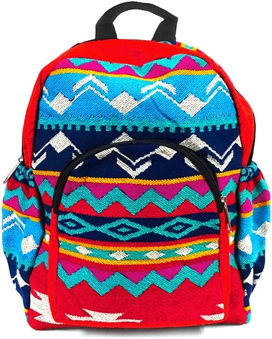 Small Limited price Aztec Tribal Print Striped Backpack Dayp unisex Pattern Cushioned