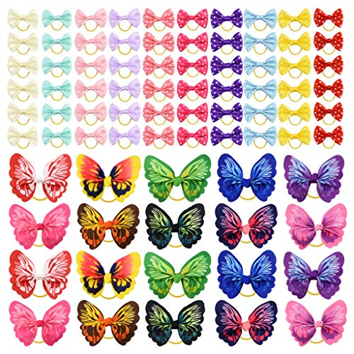 Tongcloud 80 pcs Dog Hair Bows with Rubber Bands Butterfly Dog Knotted Bows Pet Hair Bows Ties Elastic Hair Bands for Puppy Dog Cats Hair Accessories (20 Color)