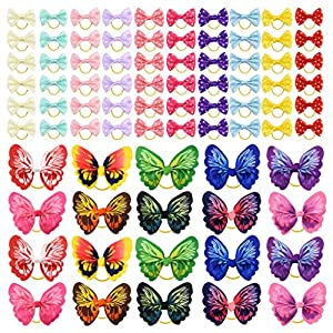 Tongcloud 80 pcs Dog Hair Bows with Rubber Bands Butterfly Dog Knotted Bows Pet Hair Bows Ties Elastic Hair Bands for Puppy Dog Cats Hair Accessories