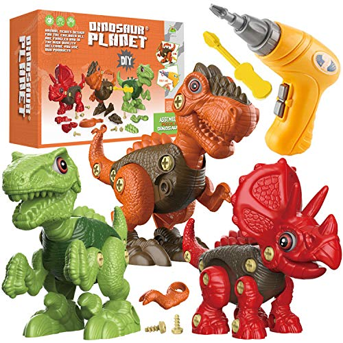 Fundia Take Apart Dinosaur Toys for Kids 3 Pack Dino Set Kids Learning Toys with Electric Drill for 37 Year Old Boys and Girls Birthday Gifts  STEM Toys for 3 4 5 6 7 Year Old Boys and Girls