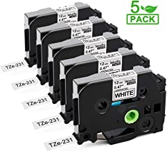 Labelife Compatible Label Tape Replacement for Brother P Touch TZe-231 TZe231 TZe TZ Label Maker Tape for Brother P-Touch PTD210 PTH110 PTD400 D600 Labeler, 12mm 0.47 Laminated Black on White, 5-Pack