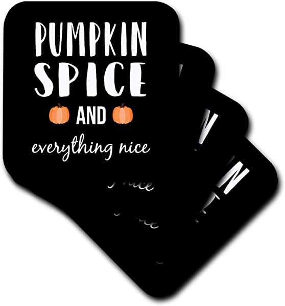 3dRose Stamp City Typography Pumpkin Spice And Everything Nice With Two Pumpkins White On Black Set Of 4 Ceramic Tile Coasters Cst 322414 3