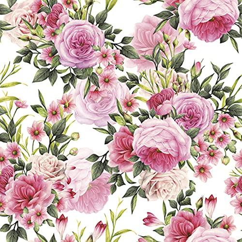 20 servilletas con diseño de rosas, 33 x 33 cm