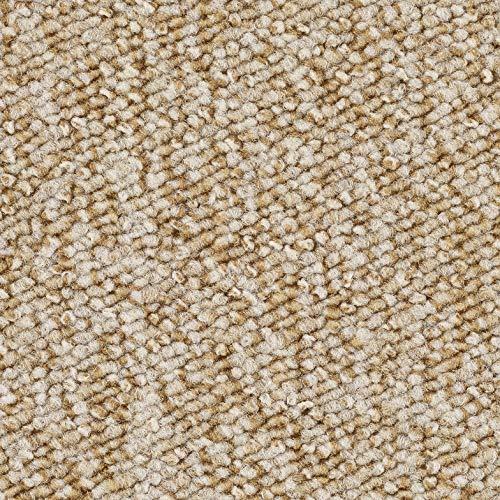 Schlingen-Teppichboden in der Farbe Beige meliert | weiche & strapazierfähige Auslegeware | zugeschnittener Bodenbelag | Meterware in der Größe 100 x 400 cm | gemütlicher Teppich Auslegeware
