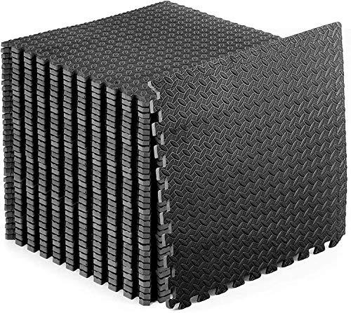 Schutzmatten 60 x 60cm Schutzmatte Trainingsmatte Puzzlematte Unterlegmatten Poolmatte Fitnessmatten für Bodenschut für Bodenschutz, Büro, Fitnessraum, Bordures (Schwarz -16 Stück)