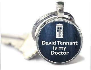 Doctor Who Keychain - Glass Keychain- David Tennant Is My Doctor - Doctor Who Keychain