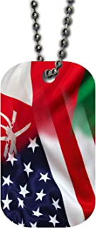 BleuReign(TM Mixed USA and Oman Flag Single Sided Metal Military ID Dog Tag with Beaded Chain
