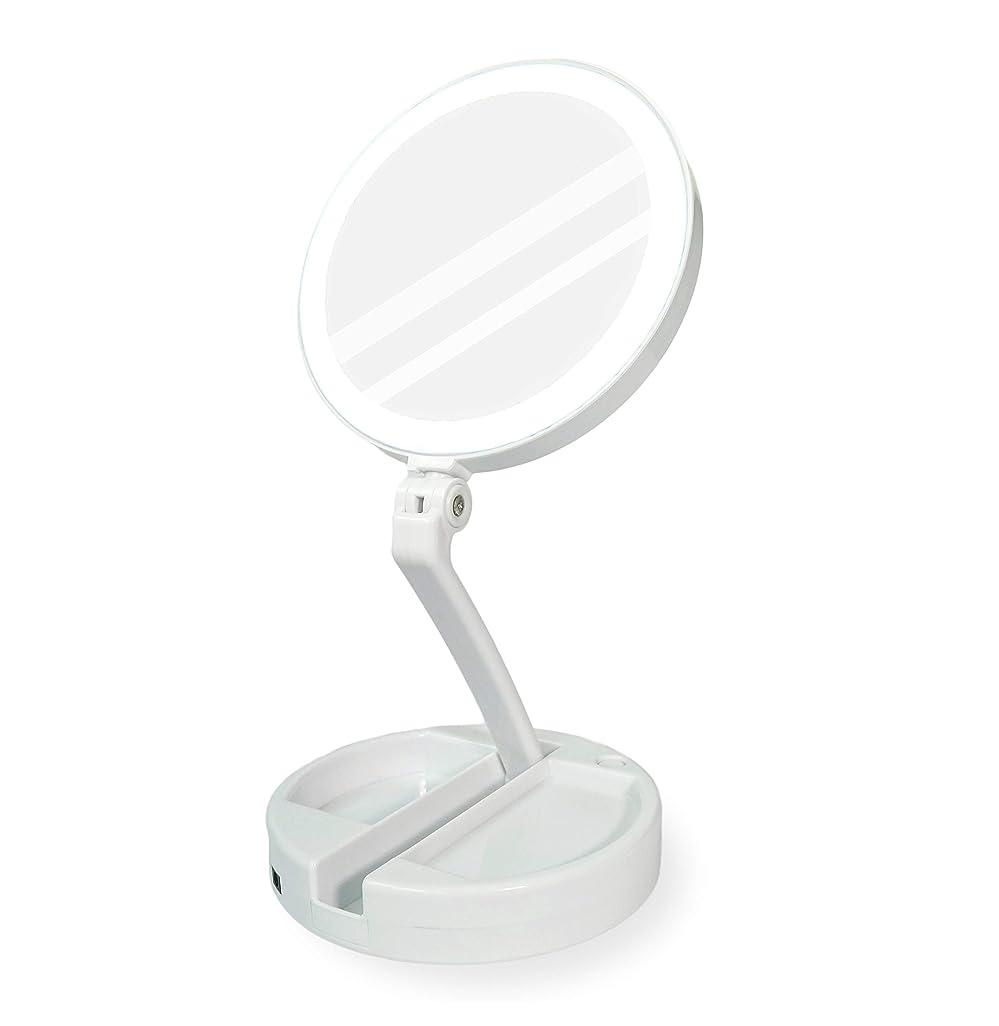 YEEZEN 拡大鏡 化粧 無段調光 鏡 卓上 ライト付き拡大鏡 化粧鏡 等倍と10倍拡大 ライトつきミラー 折りたたみ式 360°回転 収納しやすい 鏡 led 拡大ミラー