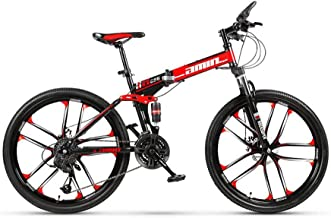 DOMDIL Folding Mountain Bike 26in 24 Speed 10-Spoke Adults Bicycle (Ship from US) Full Suspension Road Bikes with Disc Bra...