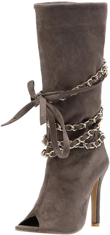 JESPER Women Open Toe Zipper Stiletto Heel Ankle Boots Fish Mouth Chain Wrap Zipper Boots