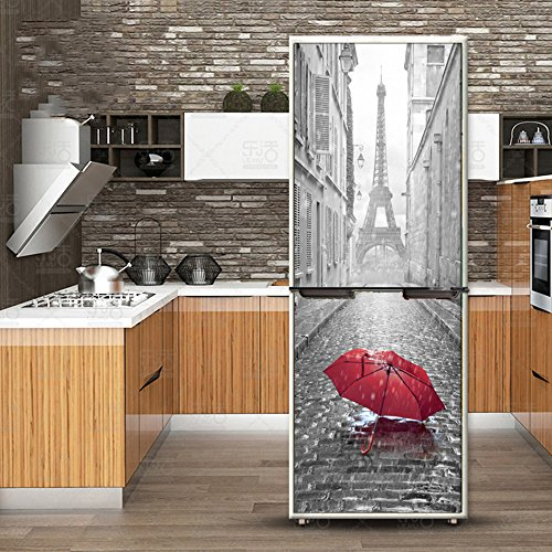 XIAOMAN Pegatinas de Nevera de Cocina Paraguas Rojo Paris HD Refrigerador Puerta Wrap Cover Extraíble Autoadhesivo DIY Art Decal (Color : Multi-Colored, Size : 60 * 180cm)