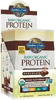 Garden of Life Raw Organic Protein Chocolate Powder Packets, 10ct Tray - Certified Vegan, Gluten Free, Organic, Non-GMO, P...