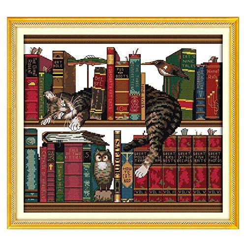 Anself Loisirs créatifs Kit de point de croix, broderie 14 points au cm - Motif oiseaux et fleurs- 46 x 46 cm - Décoration pour la maison Style 8