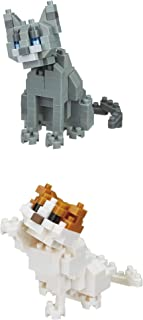 Nanoblocks 2 Cats - Scottish Fold and Russian Blue Cats Sets (Japan Import)