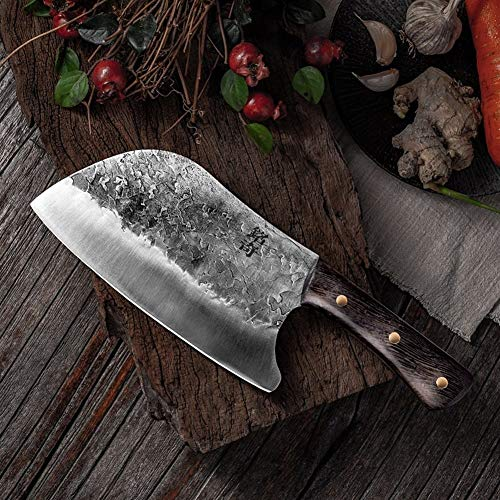 Chopper de cuchillo cuchillo de cocina tradicional forjado hecho a mano del chef martillo de acero inoxidable Chef Cocinar los cuchillos de madera carne carnicero máquina de cortar