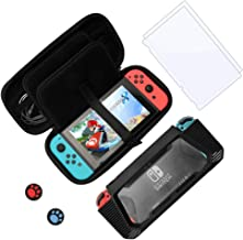 Starter Kit Compatible with Nintendo Switch, Accessory Kit with Black Hard Carrying Case, TPU Protective Case Black, Tempered Glass Screen Protector & Rocker Cap