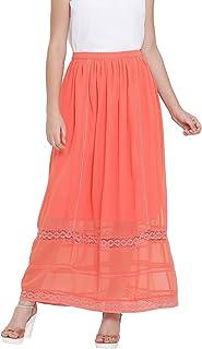 oxolloxo Women's Polyester Long Skirt (Pink)