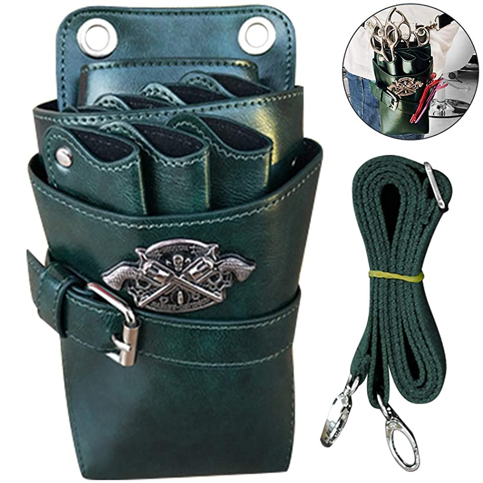WINGOFFLY Hair Scissor Holster Pouch with Waist Shoulder Belt for Hairdressers Barber PU Leather Shears Hairdressing Tool Case Bag Holder Green