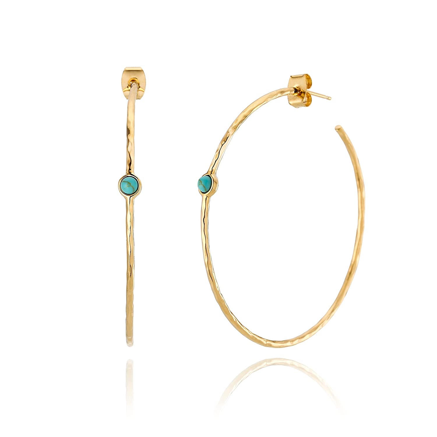 Blue Simulated Don't miss the campaign Turquoise Gold Hoop Brass Cheap mail order sales Earrings Plated