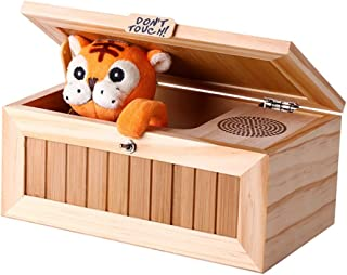 QuTess Wooden Useless Box Leave Me Alone Box Most Useless Machine Don't Touch Tiger Toy Gift with Sound Decorative&Durable Endless Fun- Cute Tiger&Surprises Most
