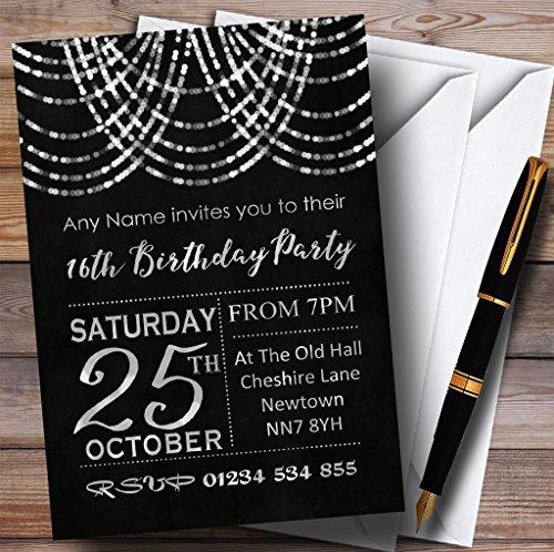 16e verjaardag nodigt zilver gedrapeerd slinger 16 Gepersonaliseerde verjaardag partij uitnodigingen met enveloppen - elke aangepaste tekst voor elke gelegenheid 100 Cards & Envelopes