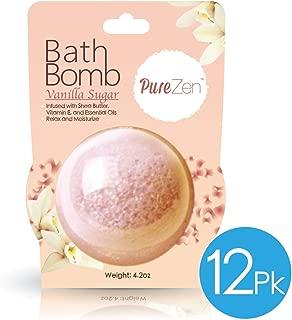 Pure Zen Jumbo Bath Bomb 12 PACK - Vanilla Sugar Scent - 4.2 oz per Bomb, Infused with Shea Butter, Vitamin E, and Essential Oils. Relax and Moisturize (Vanilla Sugar)