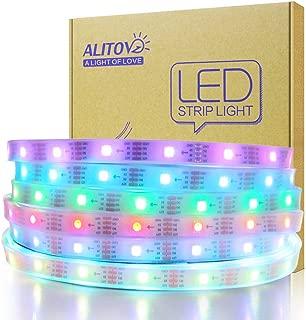 ALITOVE WS2815 WS2812B 12V RGB Addressable LED Strip Light 12V WS2813 Programmable Digital LED Pixel Light Strip 16.4ft/5m 150 LEDs Waterproof IP67 White PCB for Arduino Raspberry Pi Project