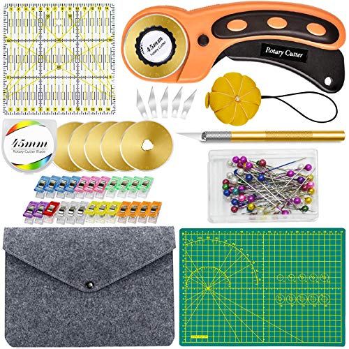 EC VISION 96 PCS Rotary Cutter Set - Crafts Rotary Cutter for Fabric Including Rotary Cutter and Mat,Acrylic Ruler, Carving Knife,Storage Bag,Replacement Rotary Cutter Blades, Fabric Rotary Cutter Kit