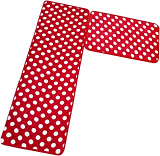 Aboo Kitchen Rugs 2 Pieces Memory Foam Kitchen Mat Non-Slip Red With White Dot (15.7