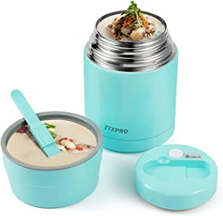 Insulated Lunch Container Thermos Food Jar for Hot Food Wide Mouth 27 oz with Folding Spoon & Handle Food Storage Container ZTXPRO Leak Proof Design for Adult School Picnic Office Outdoors – Cyan Blue