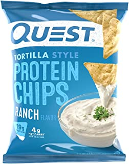 Quest Nutrition Protein Tortilla Chips, Ranch, 19g Protein, 4g Net Carbs, 140 Calories, Low Carb, Gluten Free, Soy Free, P...