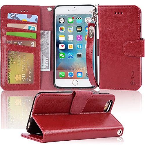 Arae Wallet case for iPhone 6s Plus/iPhone 6 Plus [Kickstand Feature] PU Leather with ID&Credit Card Pockets for iPhone 6 Plus / 6S Plus 5.5 inch (not for 6/6s) (Wine red)
