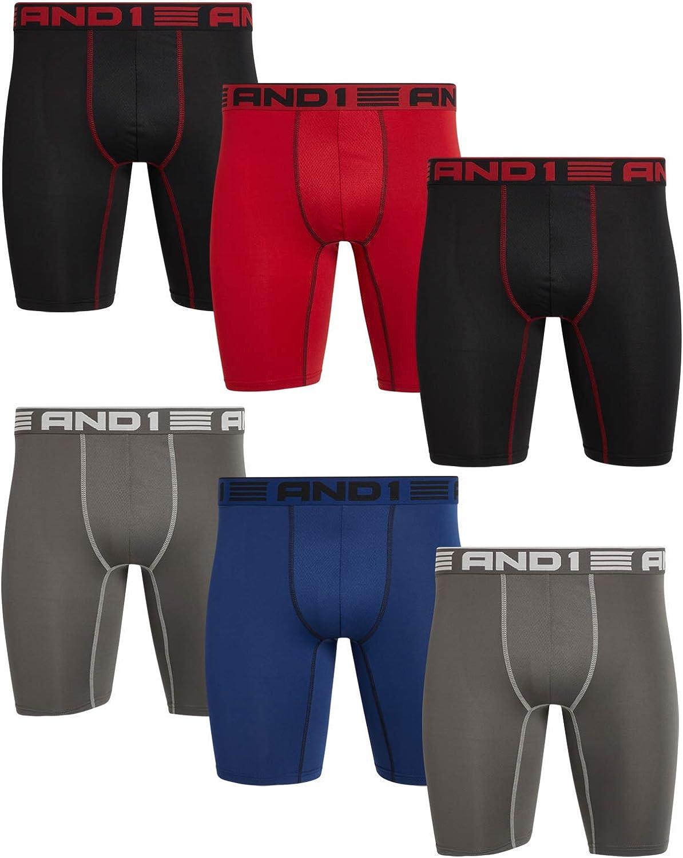 AND1 Men's Underwear – Long Leg Performance Compression Boxer Briefs (6 Pack)