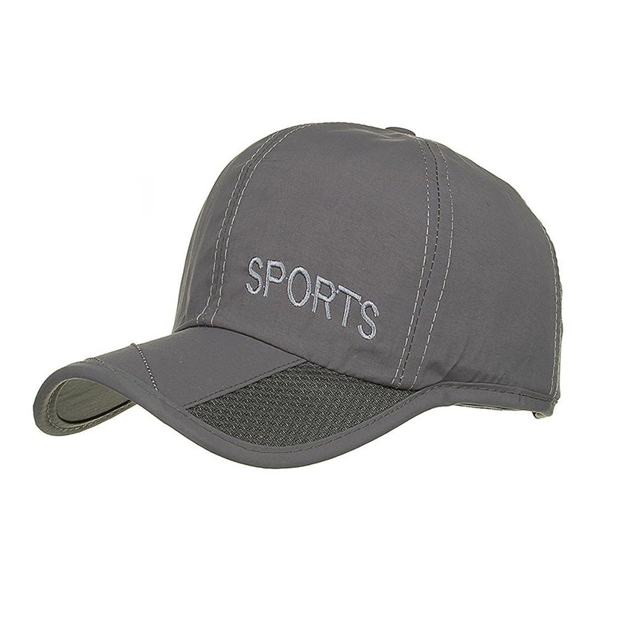 運命化学そこからRacazing Cap 男女兼用 野球帽 夏 登山 通気性のある メッシュ 帽子 ベルクロ 可調整可能 刺繍 棒球帽 UV 帽子 軽量 屋外 Unisex Hat (グレー)