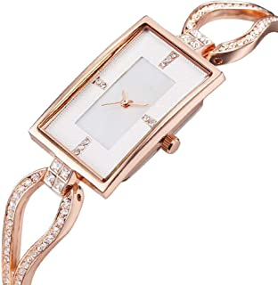 Wangyr Rectangular Woman Girl Lady Studded Ultra-Thin 9mm Quartz Watch 22 * 33mm Stainless Steel Strap Fashion Waterproof Gold Silver Holiday Gift Unique Fashion Classic Casual Luxury Business Dress