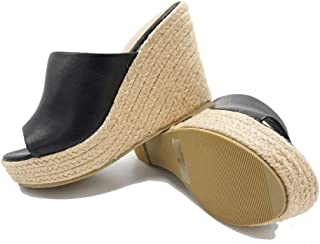 Women's Espadrille Platform Wedge Heel Peep Toe PU Sandals Summer Fashion Slippers EM04