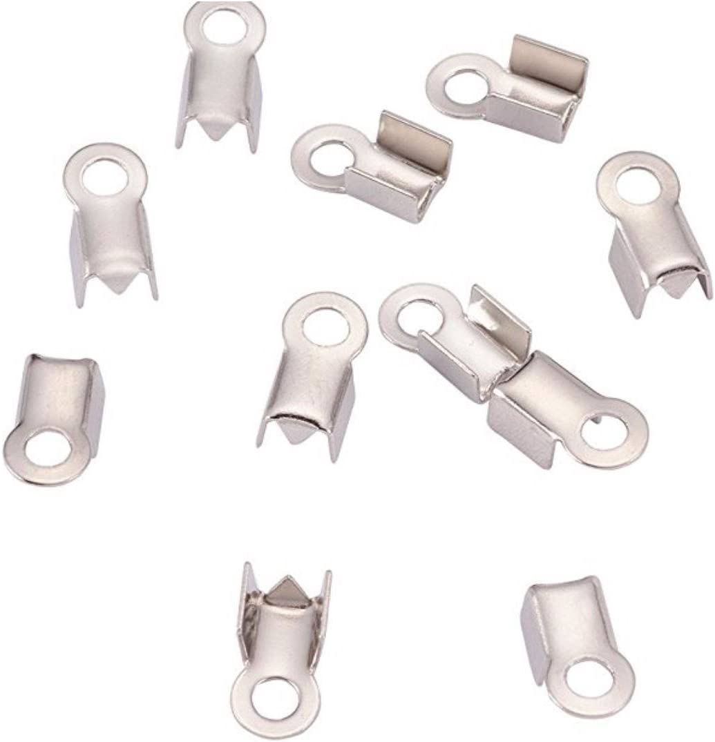 100pcs Tube Fold Max 50% OFF Over Cord Sales of SALE items from new works Ends Term Crimps 9mm Tips Inch 0.35