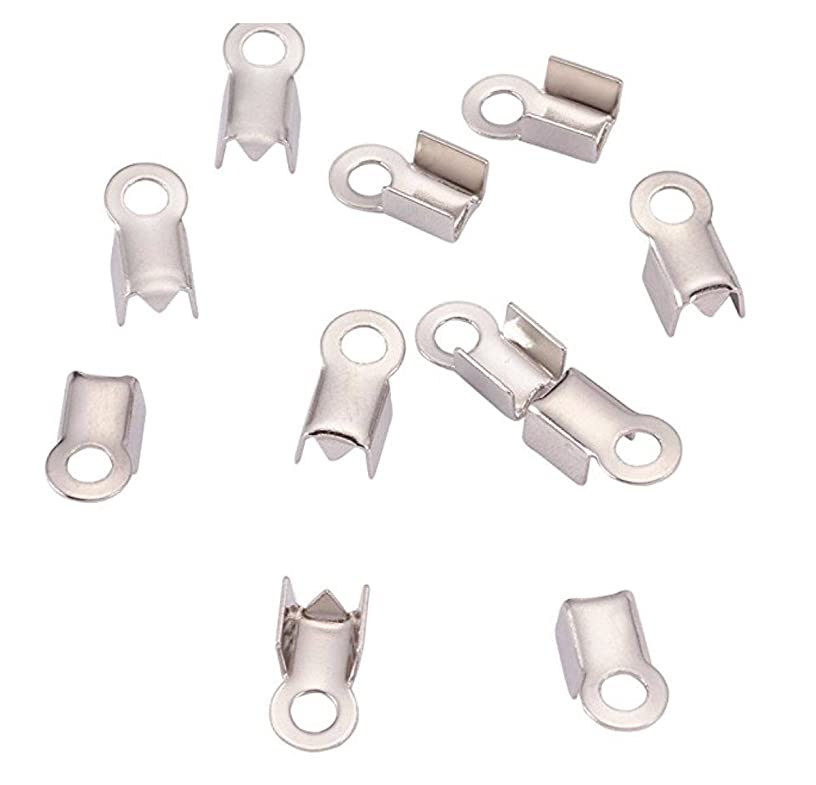 300pcs Top Quality Fold Over Cord Ends Crimps Tips Terminator Stopper Connector Beads Sterling Silver Plated Copper Brass CF240