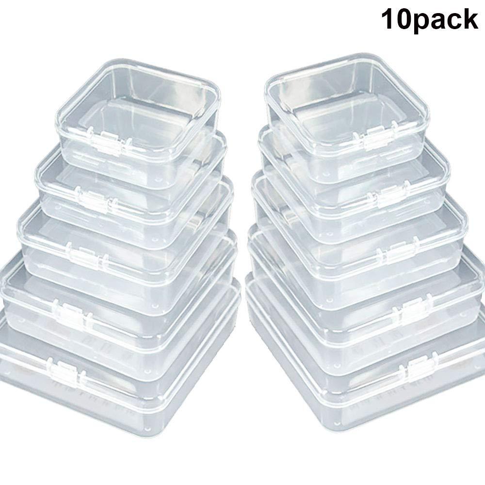GlobalDream Caja de Almacenamiento de plástico Transparente Mini Cuadrado de 10 Piezas Contenedores Mixtos con Tapa de Interruptor Cerrado para artículos pequeños y Otros proyectos de artesanía: Amazon.es: Hogar
