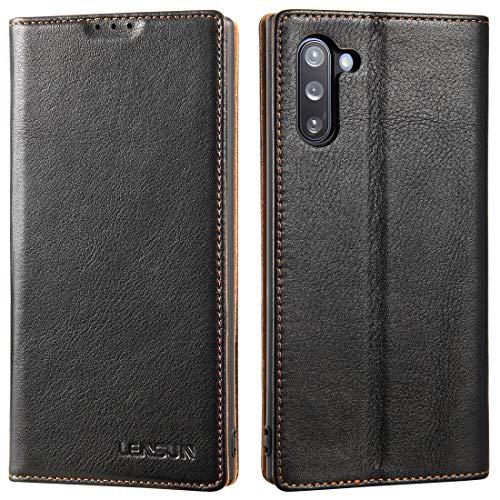LENSUN - Custodia a portafoglio in vera pelle, con chiusura magnetica, compatibile con Samsung Galaxy Note 10, colore: Nero (N10-BK-DC)