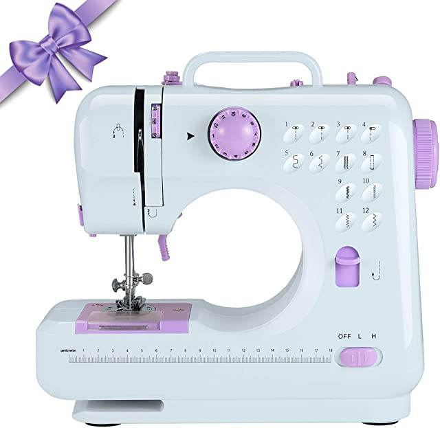 505 purple 2 Speeds Double Thread Multifunction Electric Household Hand held Mini Sewing Machine HODLEX Portable Sewing Machine With sewing kit Basic Easy to Use for Adults and Kids,12 Built-in Stitches