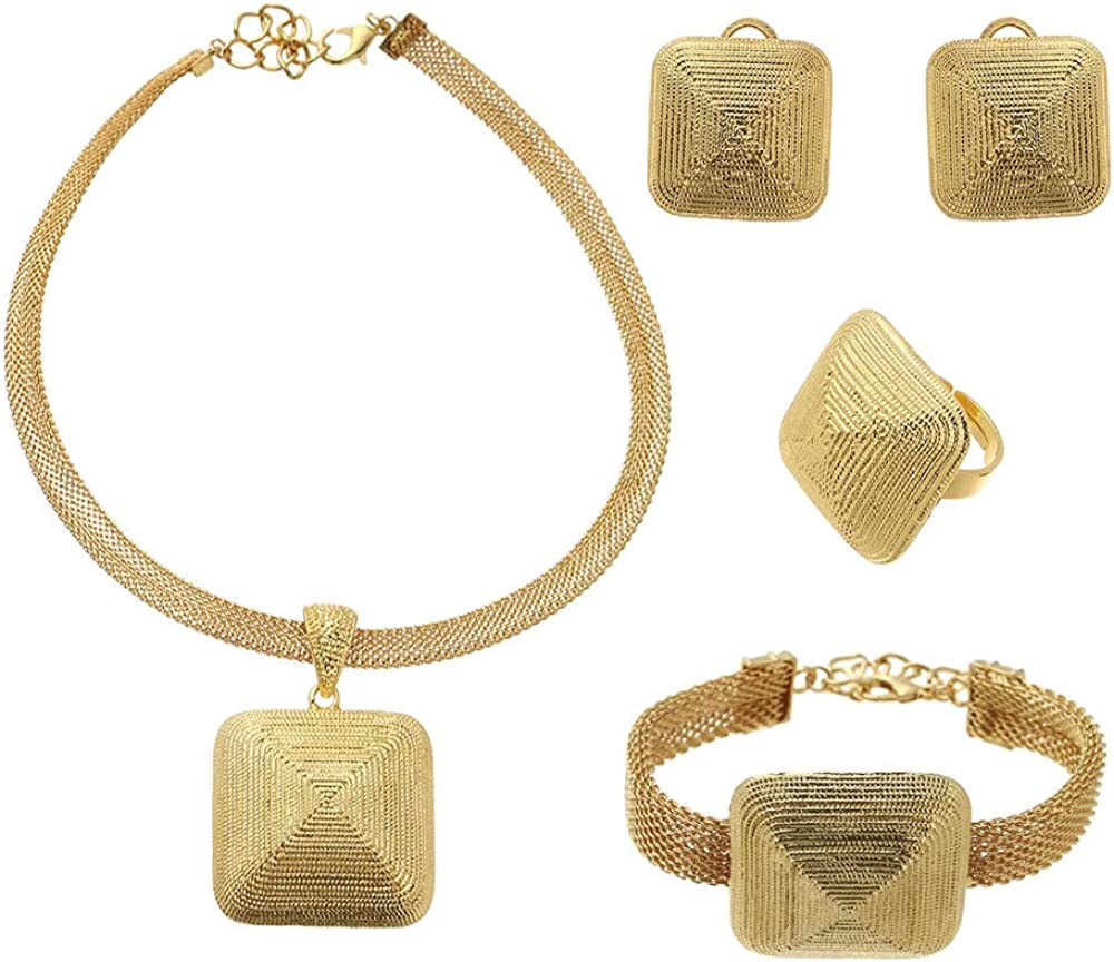 BESI Gold Color Jewelry Set for Women African Wedding Necklace Square Earrings Ring Bracelet