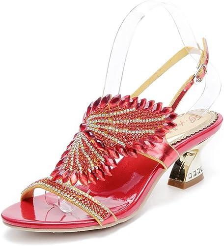 HIGHXE Nouvelles Sandales de Femmes de Strass épais avec des Ailes d'ange de Diamant de Bohème des Sandales des Femmes Romaines