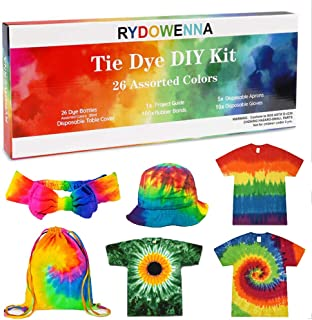 26 Colors DIY Tie Dye Kits,Tie Dye Shirt Fabric Set with Rubber Bands,Gloves,Plastic Film and Table Covers for Kids,Adults,Family Friends Groups Party Supplies,Non-Toxic DIY Tie-Dye Handmade Project