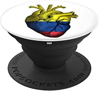 Colombia Flag Heart Love Bogota City National PopSockets Grip and Stand for Phones and Tablets
