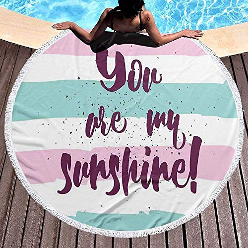 Duanrest Toalla de Playa Manta de Playa, Rayas horizontales con Frase de Sol en ForegLove Valentines Romance Theme, Toalla Beach Mat 59 '