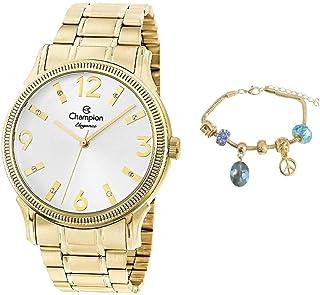 Kit Relógio Champion Feminino Dourado Analógico CN25832W + Pulseira Berloques